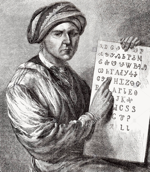 picture of Sequoyah and the Cherokee syllabary